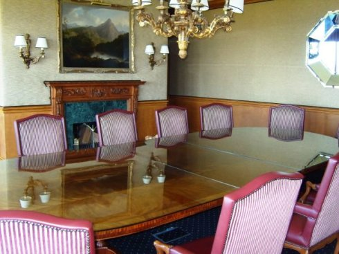 The Boardroom again - keep in mind that the chairs will be covered and tied for a more elegant look.  The table will also be set up with fancy flowers and place settings.