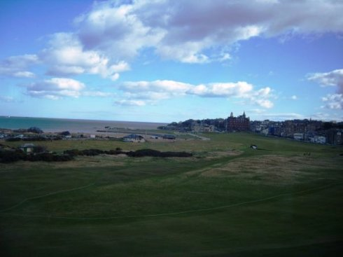 This is looking out the Boardroom window onto the Old Course and the town of St. Andrews.