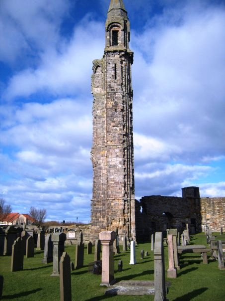 A view of St. Rule's Tower from the cemetery within the Cathedral...gruesome, I know, but rather interesting.
